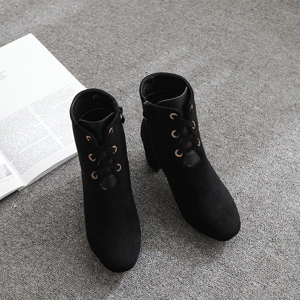 Aisun Damen Blockabsatz Elegant Cut Out Schnürsenkel Blockabsatz Damen Kurzschaft Stiefel Mit Reißverschluss Schwarz bb12b7