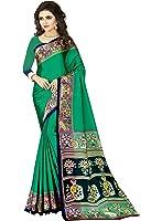 e-VASTRAM Womens Crepe Printed Art Silk Saree(V4002_Green)
