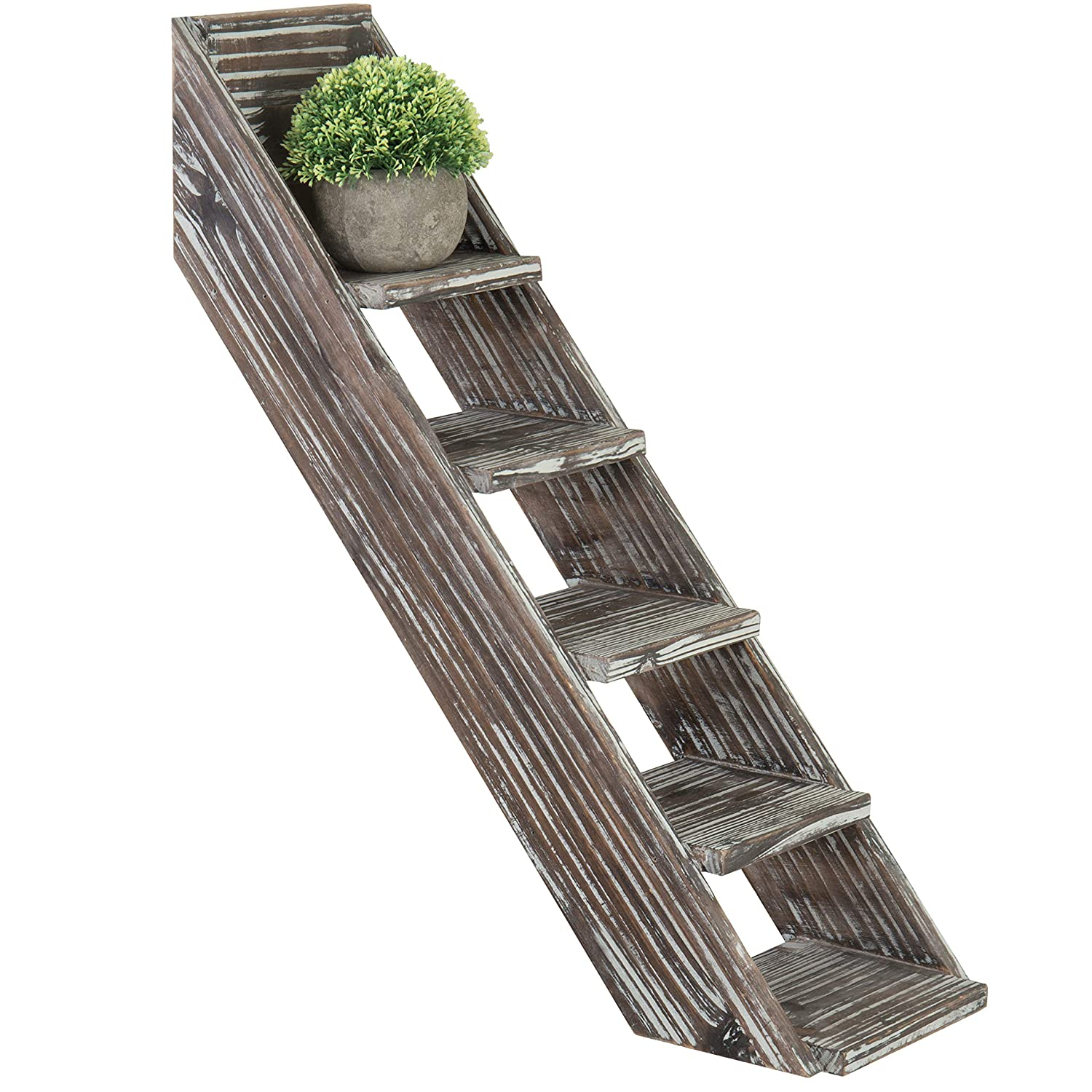 MyGift Torched Wood 5-Tier Wall-Mounted Staircase Shelf