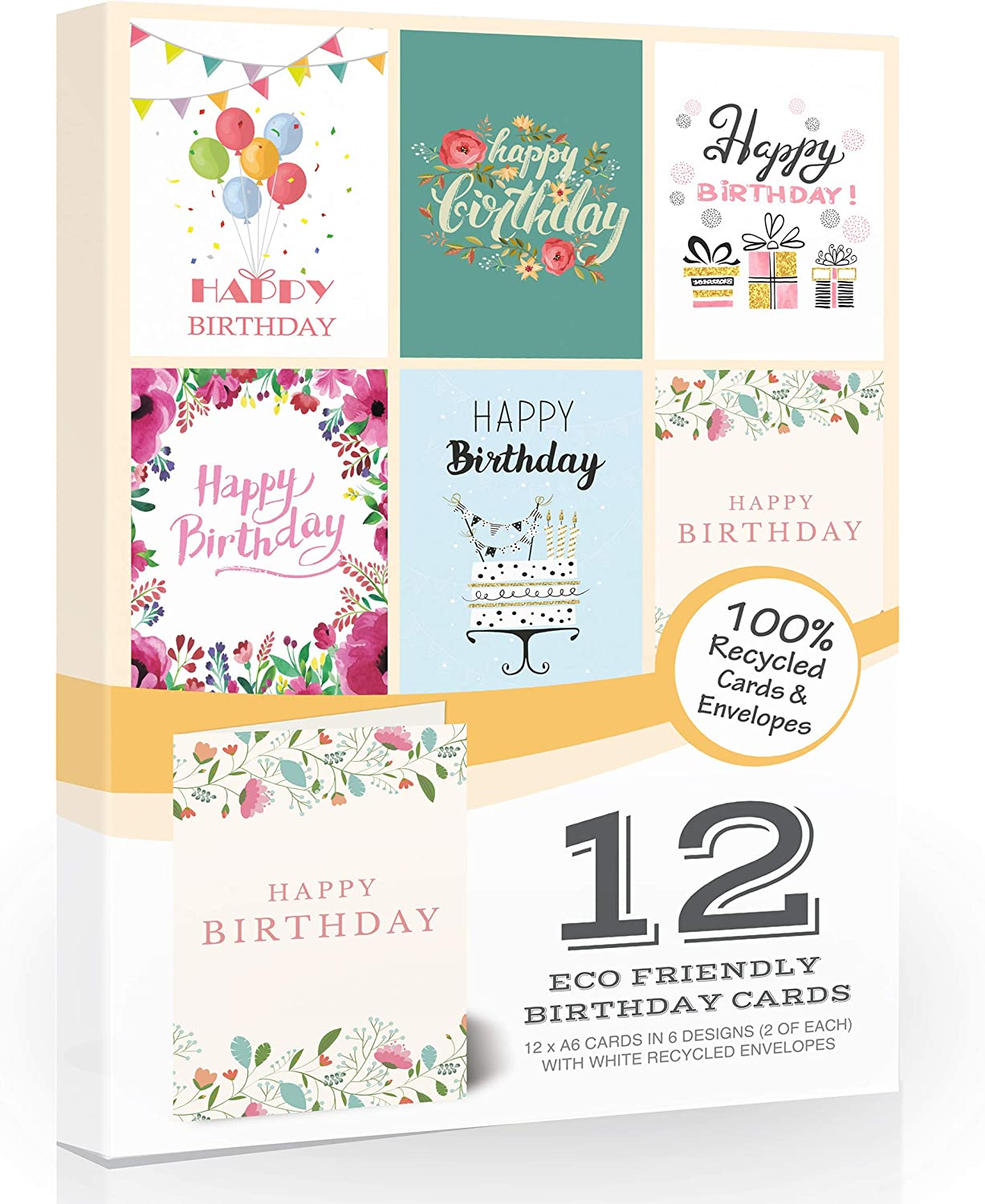 12 X Eco Friendly Birthday Cards Pack Envelopes By Olivia Samuel Great Value Pack Of Birthday Cards On 100 Recycled Card 6 Designs Made In The Uk Amazon Co Uk Office Products