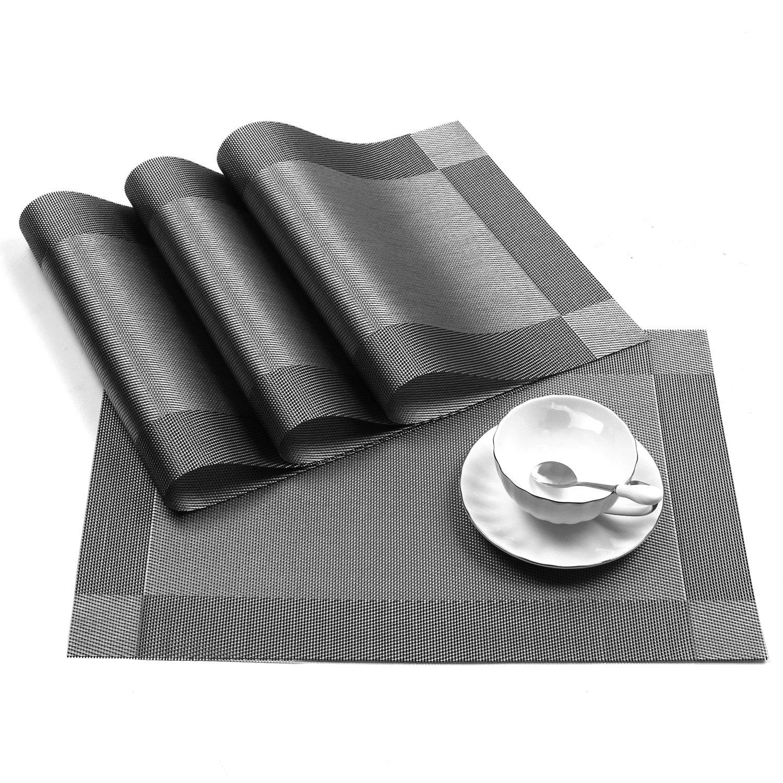 Placemat,U'Artlines Crossweave Woven Vinyl Non-slip Insulation Placemat Washable Table Mats Set of 6 (6pcs placemats, Grey) by U'Artlines (Image #3)