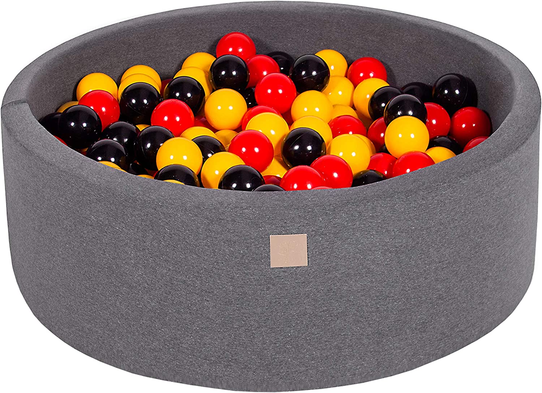 MEOWBABY Piscina de Bolas 90X30cm/200 Bolas ∅ 7Cm Piscina de Bolas Certificada para Niños Hecha en EU Gris Oscuro: Amarillo/Rojo/Negro: Amazon.es: Juguetes y juegos