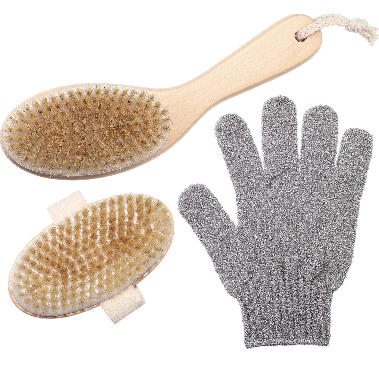 2 Styles Body Exfoliation Brush Boar Bristle Brush and Bath Gloves for Shower TecUnite