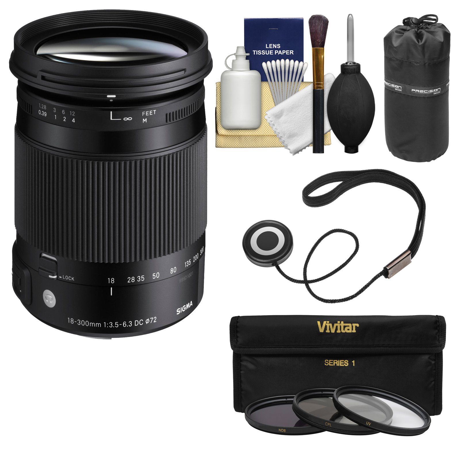 Sigma 18-300mm f/3.5-6.3 Contemporary DC Macro OS HSM Zoom Lens for Canon EOS DSLR Cameras with Pouch + 3 UV/CPL/ND8 Filters + Kit by Sigma