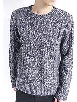 (モノマート) MONO-MART フィッシャーマン ケーブル編み セーター ニット ケーブル 暖かい タートルネック 起毛 クルーネック モード MODE メンズ