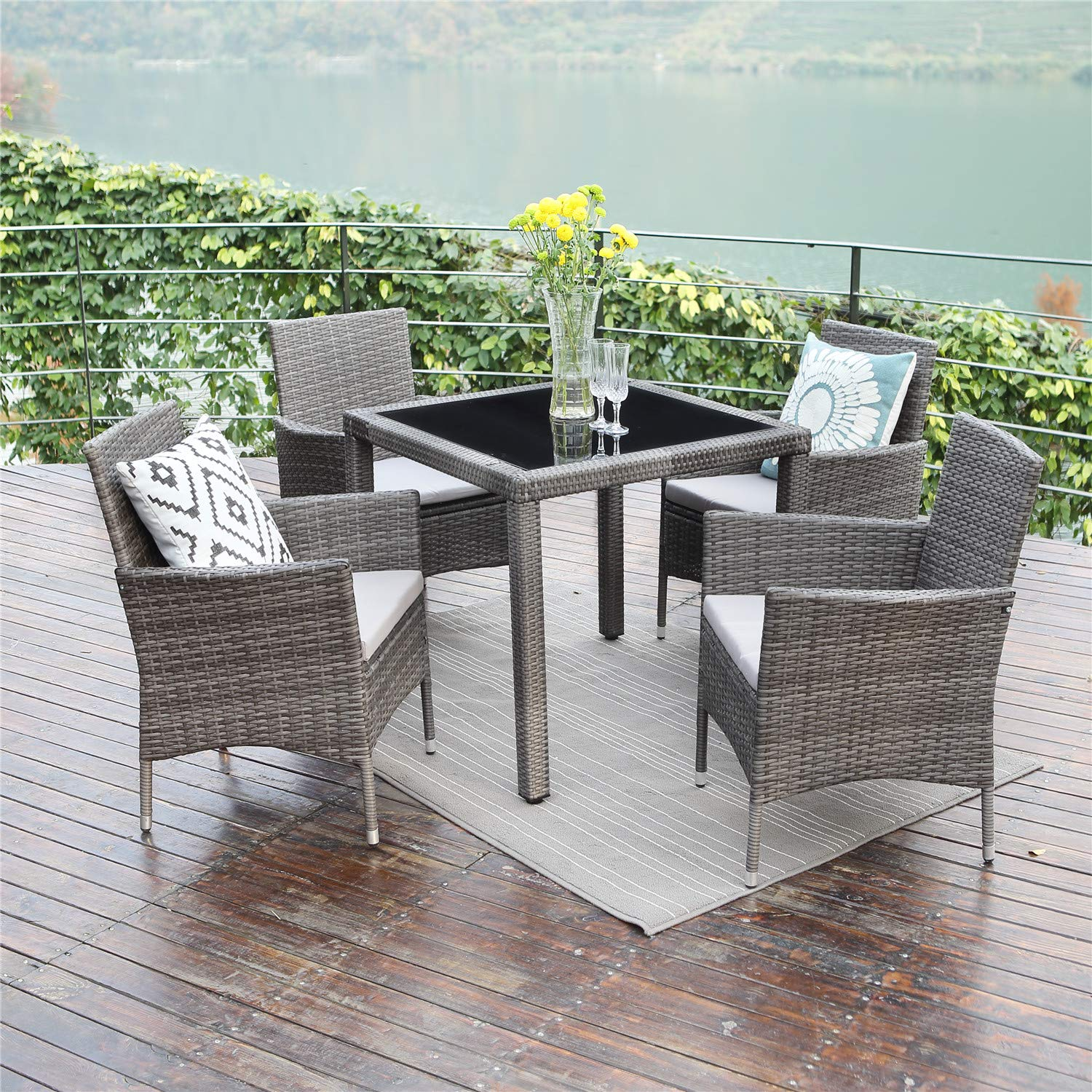 Wisteria Lane 5PCS Patio Dining Table Set, Outdoor Conversation Set Glass Table with Cushioned Wicker Chairs Garden Lawn Bar Furniture,Grey