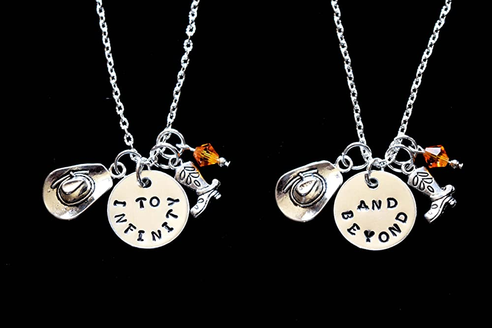 HACOOL Set of 2 Eternal Friendship Best Friends Forever BFF To Infinity /& Beyond Necklaces