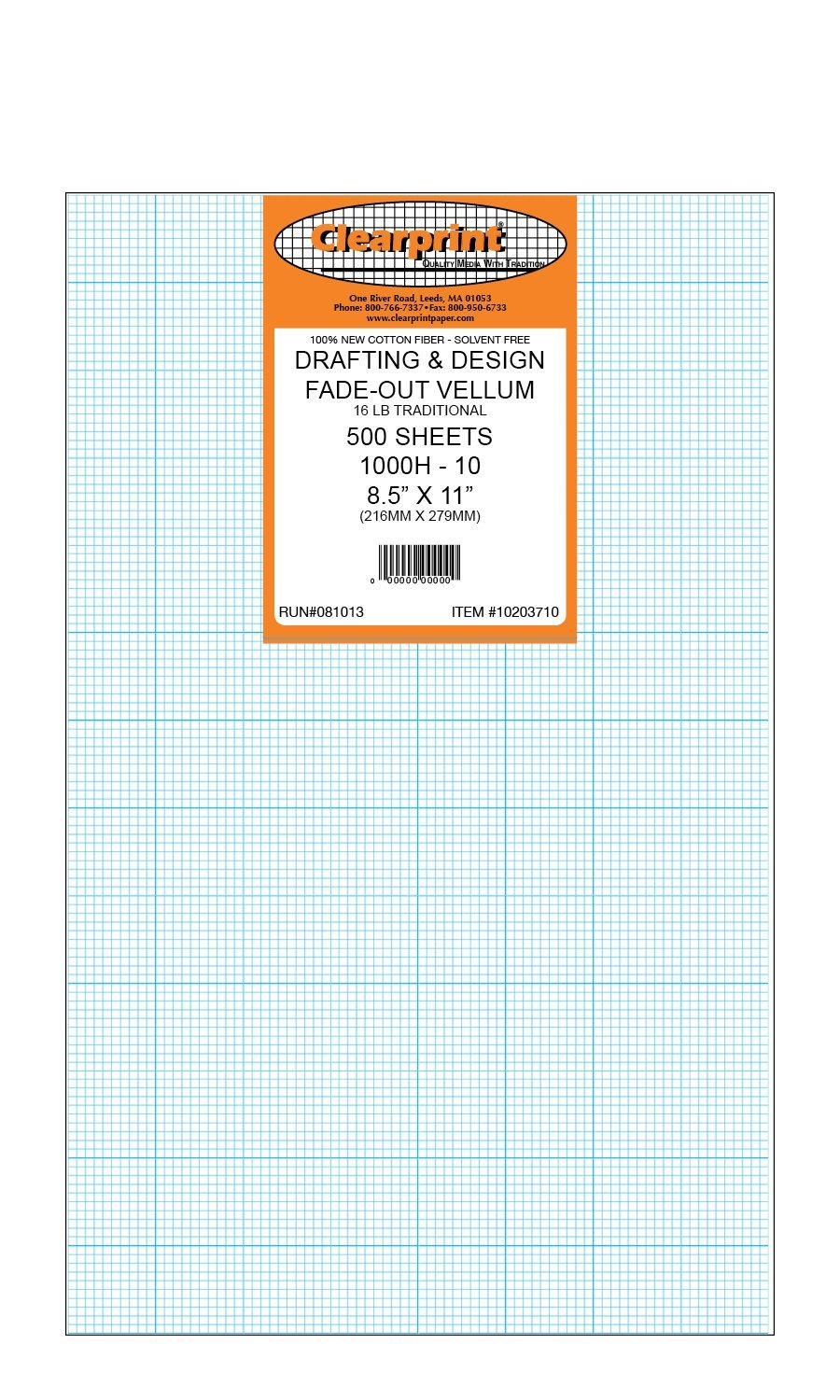 Clearprint 1000H Design Vellum Sheets with Printed Fade-Out 10x10 Grid, 16 Lb., 100% Cotton, 8-1/2 x 11 Inches, 500 Sheets Per Pack, 1 Each (10203710)