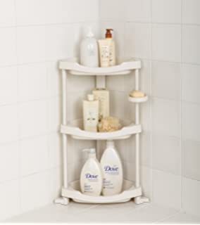 Tenby Living Corner Shower Caddy   3 Shelf Shower Organizer Caddie With  Movab.