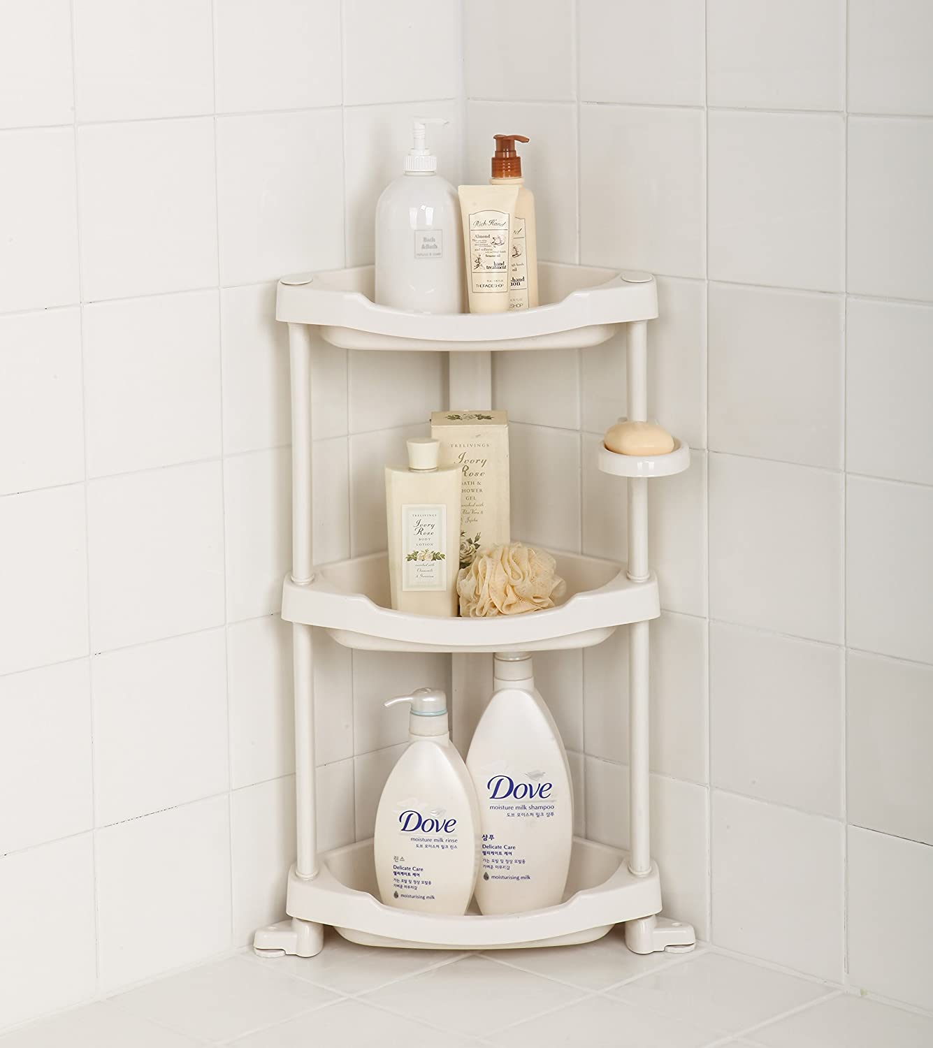 Tenby Living Corner Shower Caddy - 3 Shelf Shower Organizer Caddie with Movable Soap Dish - Heavy-Duty White Plastic Construction - Adjustable Height COMIN18JU000288