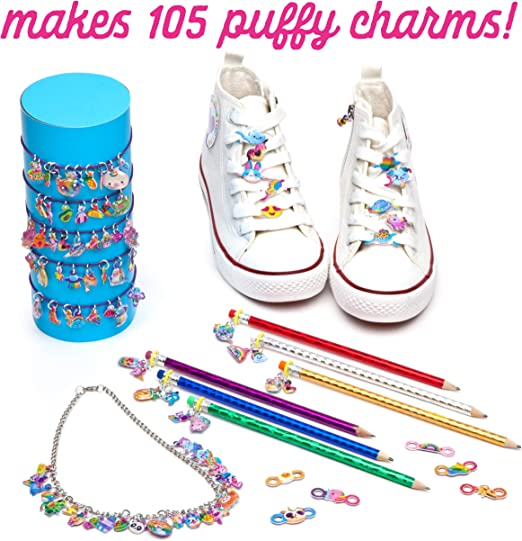 Decorate Bracelets a Necklace Makes 136 Charms! Fun with DIY Puffy Charms Pencil Toppers Craft-tastic /& More!