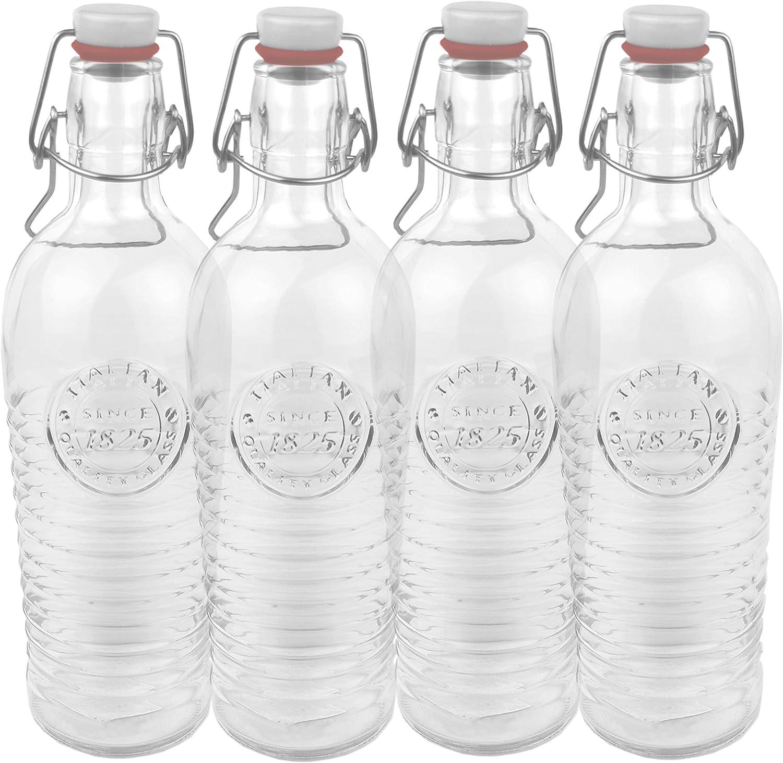 4er Set botella de cristal officina{1825} - curvada 1,2 Liter botella con cierre y motivos florales en relieve