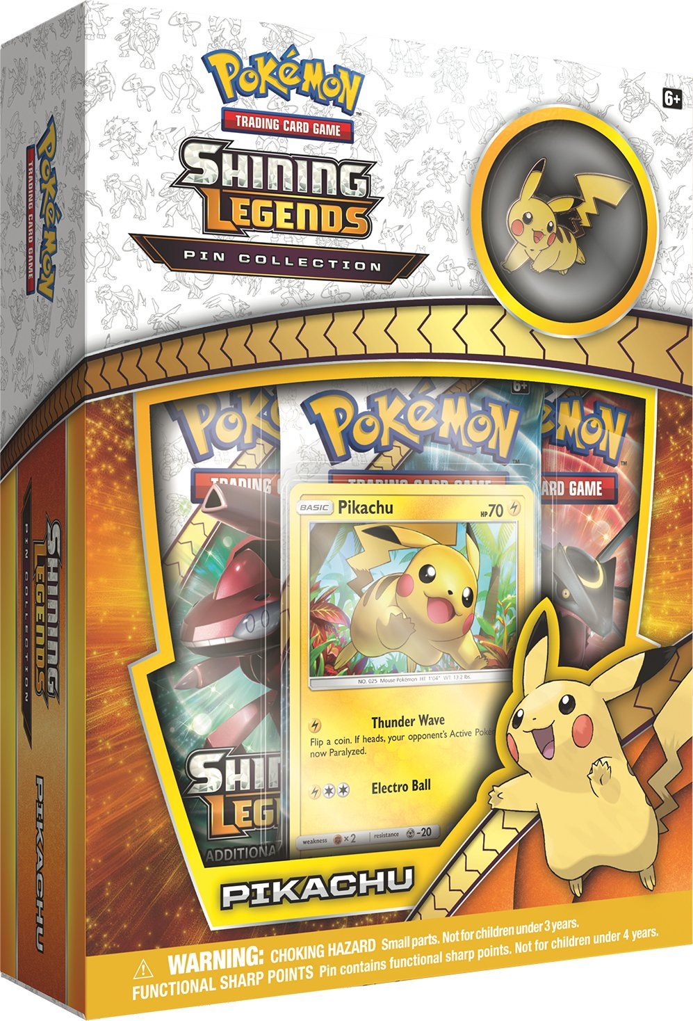 Pokemon TCG: Pikachu Shining Legends Pin Collection | Includes Playable Pikachu Promo Foil & Collector's Pikachu Pin | Plus 3 Shining Legends Expansion Booster Packs | 31 Cards Total