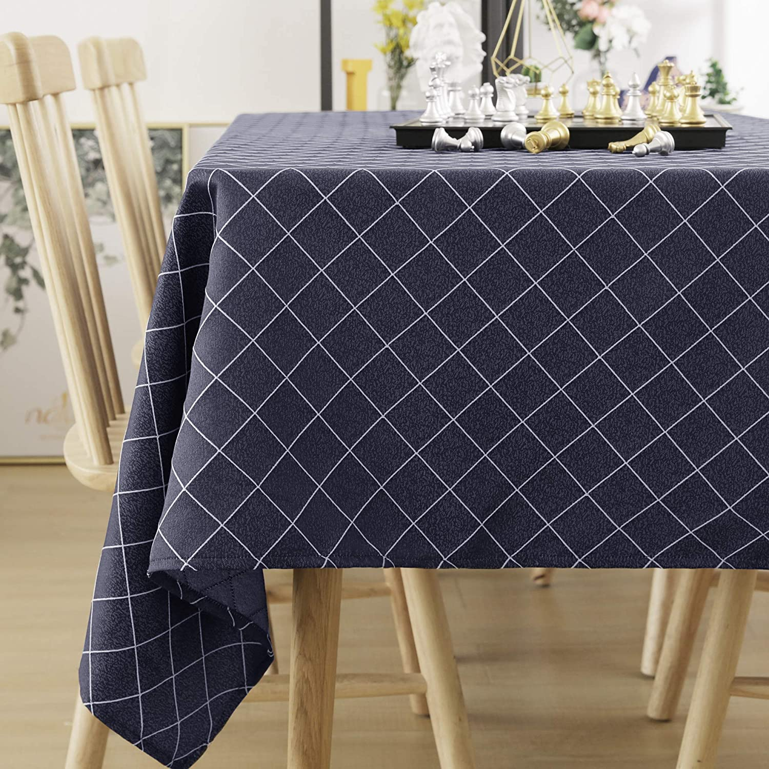 Deconovo Waterproof Table Cloth Rectangle Jacquard Chequer Tablecloth Rectangular Large Table Cloth for Outdoor Beige 130x220cm