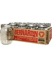 Bernardin Regular Mouth 500ml Mason Jars-Box of 12, 500ml, Clear
