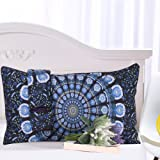 Sleepwish Blue Floral Mandala Pillow Case Bohemia Exotic Patterns Pillow Cover Elegant Blue Flowers Pillowcase 20x30 inches (1 Case)