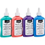 AmazonBasics Washable Color Glue, Great For Making Slime, Assorted Colors, 5-oz each, 4-Pack