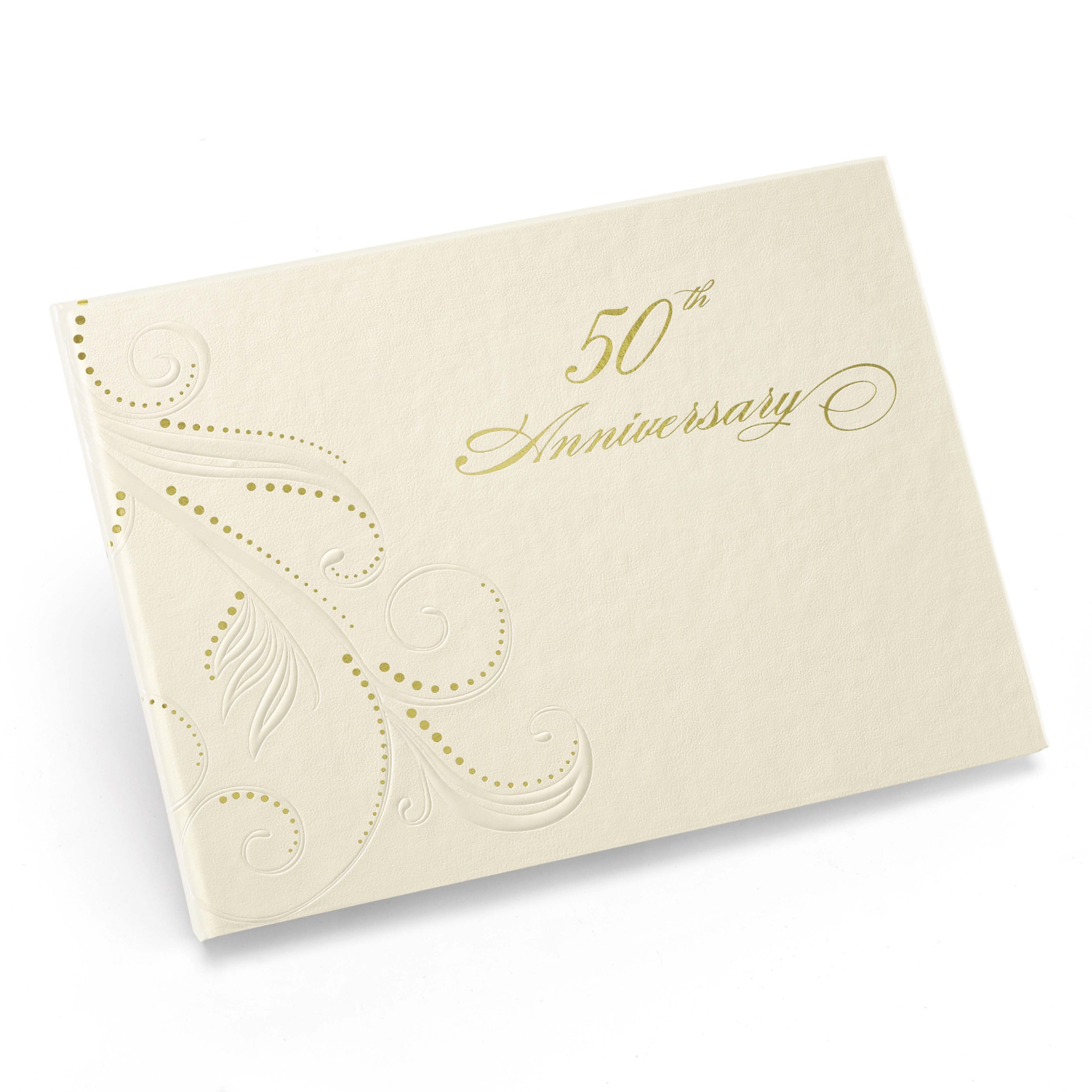 Hortense B. Hewitt Wedding Accessories 50th Anniversary Swirl Dots Guest Book, Ivory by Hortense B. Hewitt