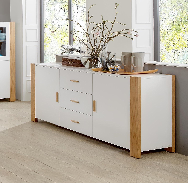 Komplett Set Esszimmermöbel Esszimmer Möbel Speisezimmer Sideboard +  Highboard + Tisch + Bank Weiß: Amazon.de: Küche U0026 Haushalt