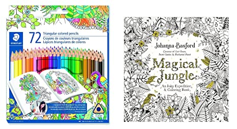 Staedtler 72 Count Wood Colored Pencil Set With Johanna Basfords Magical Jungle Coloring Book