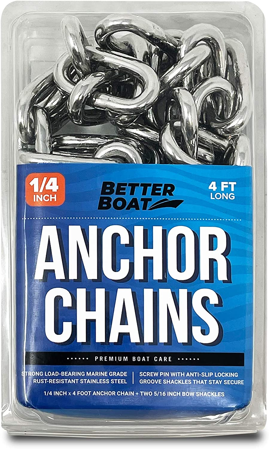 """Better Boat 4 Foot 1/4"""" Stainless Steel Anchor Chain and Double Shackle Link Ends Marine Grade : Sports & Outdoors"""