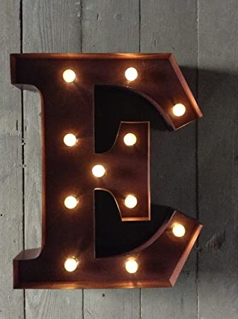 led carnival circus light up metal letter e wall sign wall mounted or free standing