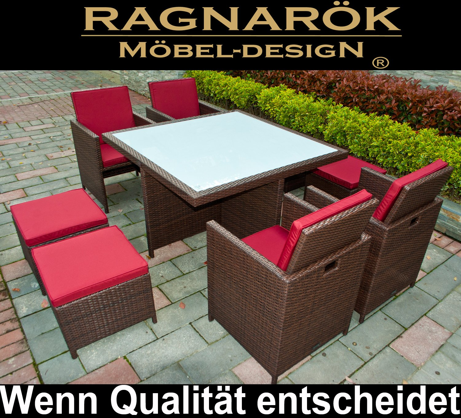 gartenm bel polyrattan deutsche marke eignene produktion essgruppe tisch 4 st hle 4. Black Bedroom Furniture Sets. Home Design Ideas