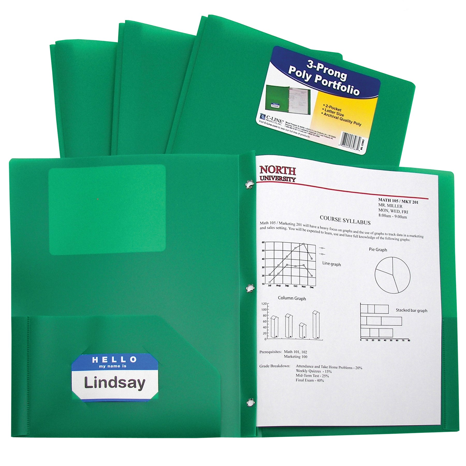 C-Line Two-Pocket Heavyweight Poly Portfolio with Prongs, For Letter Size Papers, Includes Business Card Slot, 1 Case of 25 Portfolios, Green (33963-25) by C-Line
