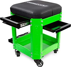 OEMTOOLS 24993 Green Rolling Workshop Creeper Seat with 2 Tool Storage Drawers Under Seat Storage Can Holders