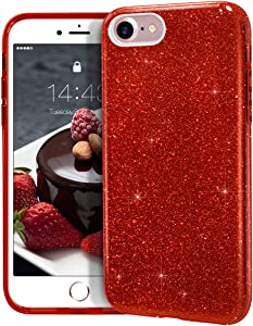 "MATEPROX iPhone SE 2020 case,iPhone 8 case,iPhone 7 Glitter Bling Sparkle Cute Girls Women Protective Case for 4.7"" iPhone 7/8/SE (Red)"