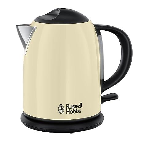 Russell Hobbs Colours Cream Hervidor de agua compacto, 1L, resistencia oculta, 2200 W, acero inoxidable, Crema - ref. 20194-70