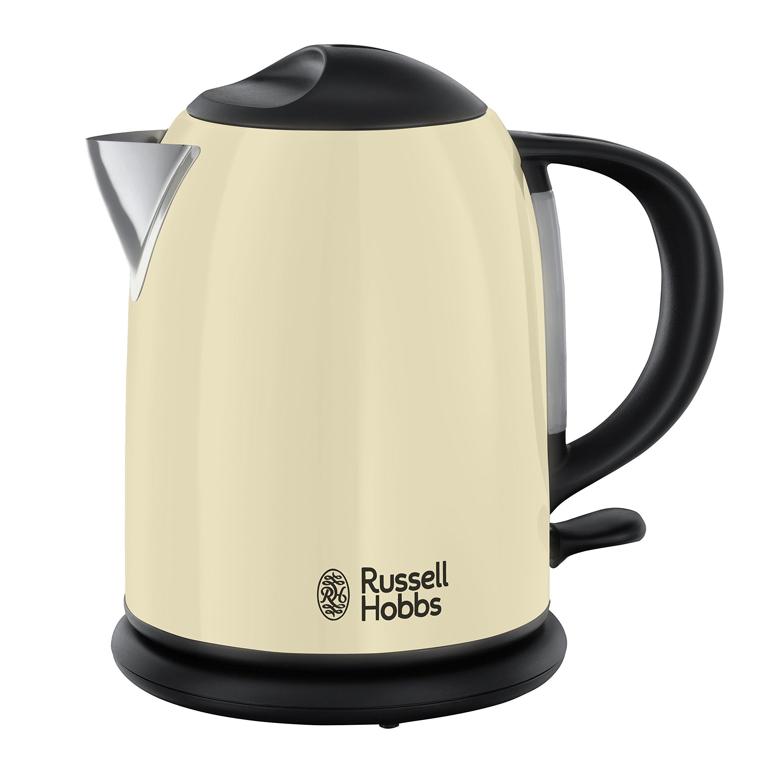 Russell Hobbs Colours Cream - Hervidor de agua compacto, 1L, resistencia oculta, 2200 W, acero inoxidable color crema - ref. 20194-70
