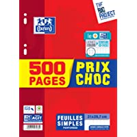Oxford Scolaire Feuilles simples perforées A4 21x29,7cm 90g Seyès grands carreaux 500 pages