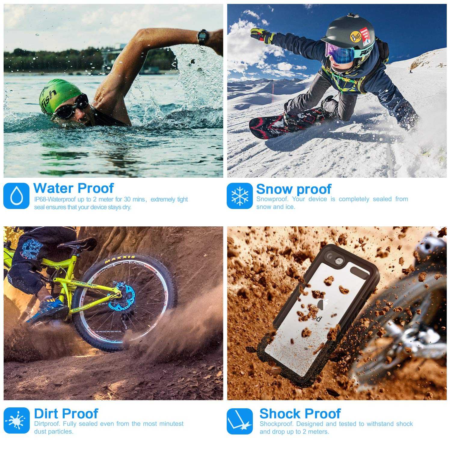 IDweel iPod 7 Case Shockproof Dirt-Proof Snow-Proof Cover and Screen Protector for Apple iPod Touch 7th 6th //5th Generation,Black Waterproof Case for iPod Touch 7//6// 5