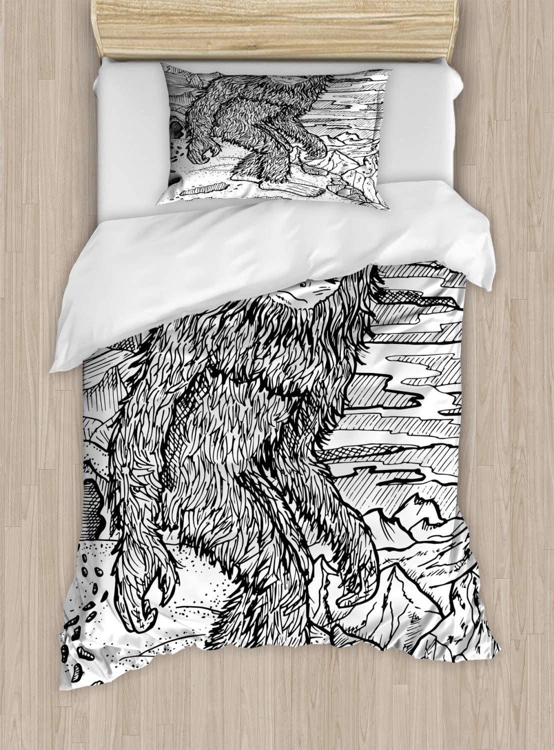 Ambesonne Bigfoot Duvet Cover Set, Mythical Creature Snowman on The Hills Leaving Footprints Behind Him, Decorative 2 Piece Bedding Set with 1 Pillow Sham, Twin Size, Black Print