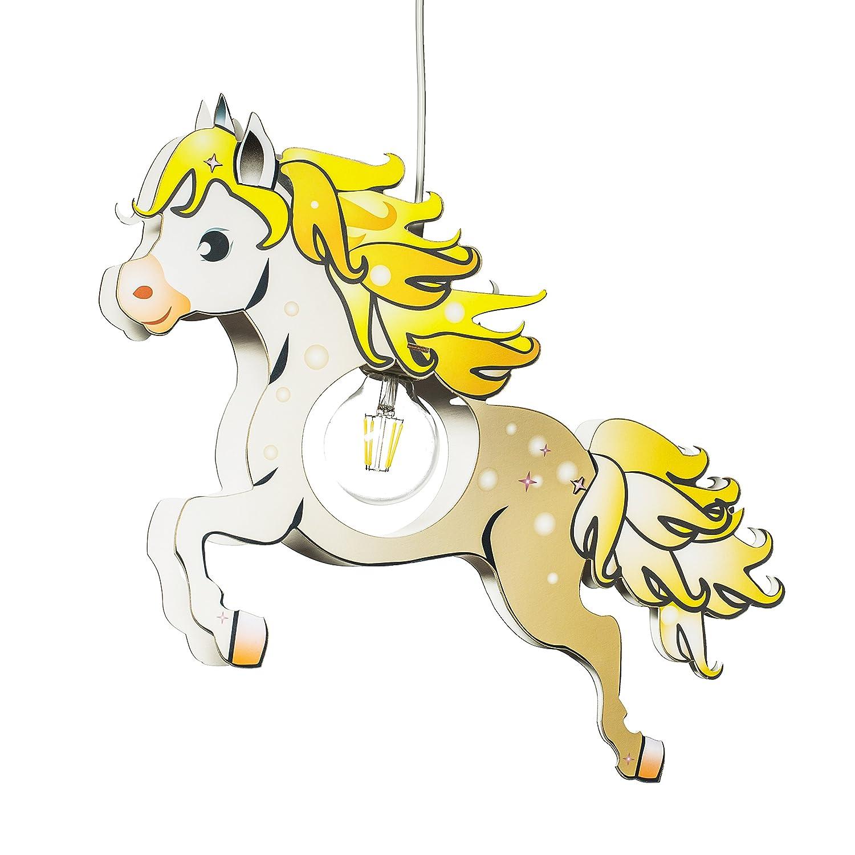Elobra Kinderlampe Pferd Pendelleuchte für Kinder, Holz, 40 W, Braun