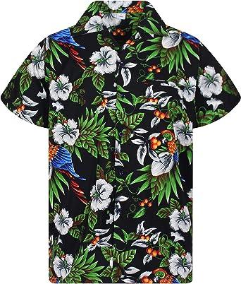 Camicia Hawaii Birds of Hawaii M-XL 100/% Cotone Camicia Hawaii Hawai Nero