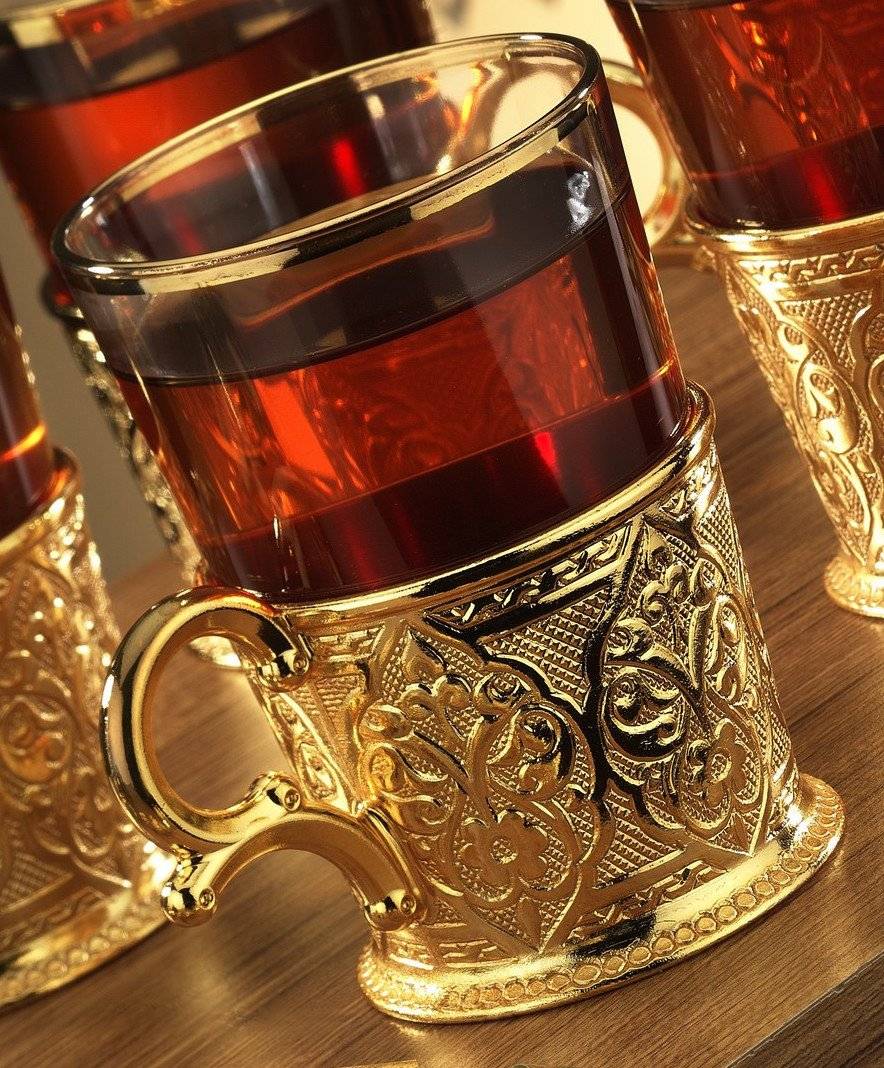 Amazon.com | Turkish Tea Set for 6 - Decorated Glasses with Brass Holders Tray Spoons, Gold (6.6 Oz (200ml)): Tea Sets