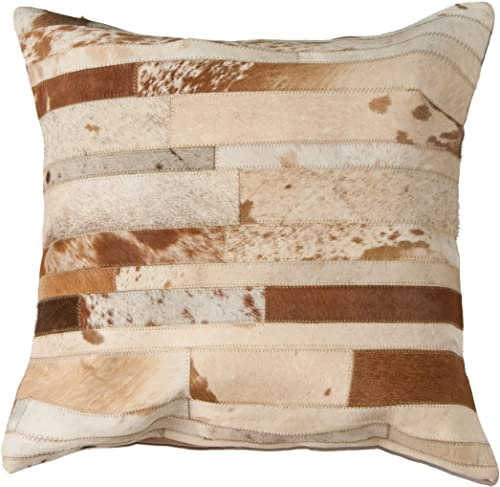 Natural Torino Madrid Handcrafted Soft Touch Natural Cowhide Pillow with Polyfil Insert and Zipper Closure, Brown White, 22 in x 22 in