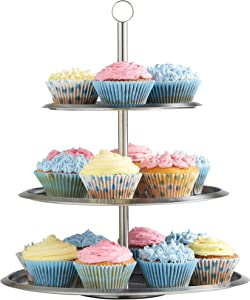 VonShef 3 Tier Round Cupcake Stand Cupcake Holder Candy Tapas Display Tower For Birthdays Wedding Baby Showers Tea Party Stainless Steel Cake Serving Platter Tray