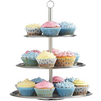 Vonshef - Vonshef soporte para mostrar pasteles/ pastelillos/muffins de acero inoxidable de 3