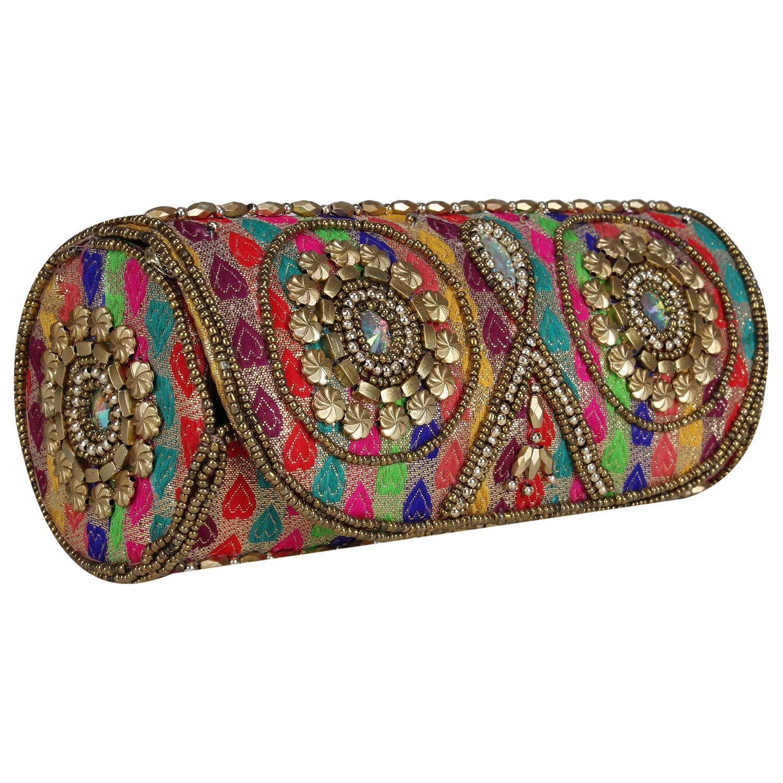 Round Women Sizzling Jaipuriya Style Hand-Cum-Wedding Clutch -Multicolor (Multicolor)