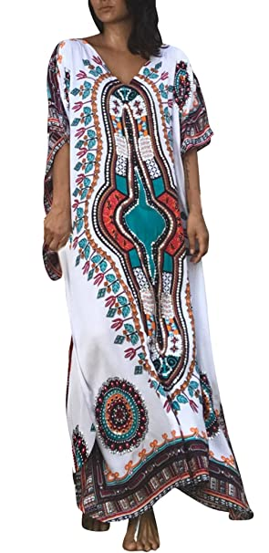 6ff1fb731 Lukis Women Cotton Kaftan Bikini Cover Ups Beach Maxi Dress  Amazon.co.uk   Clothing