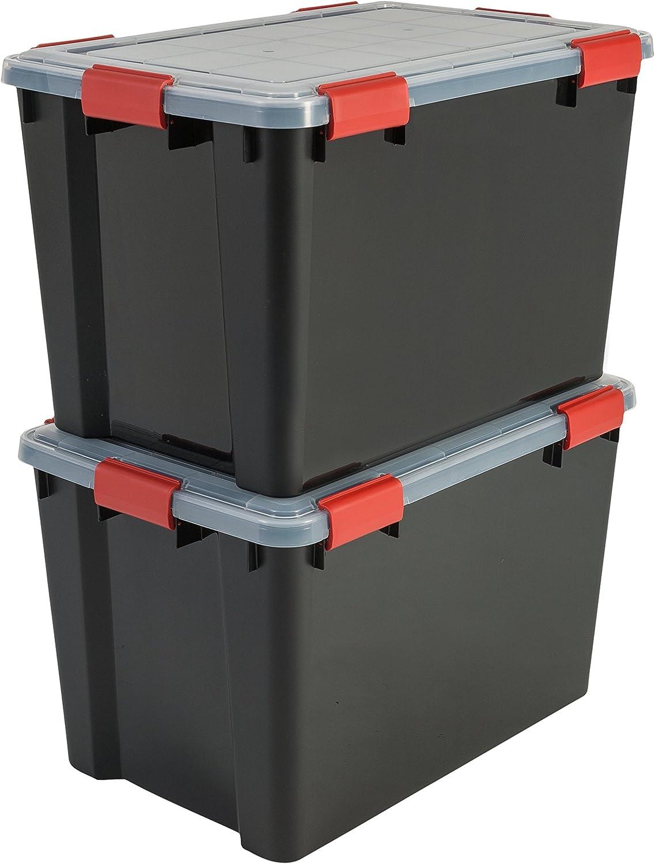 Iris Ohyama, lote de 2 latas herméticas de almacenamiento - Air Tight Box - AT-LD, plástico, negro / transparente 70 L, 59 x 39 x 38 cm