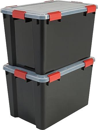 Iris Ohyama, lote de 2 latas herméticas de almacenamiento - Air Tight Box - AT-LD, plástico, negro / transparente 70 L, 59 x 39 x 38 cm: Amazon.es: Hogar