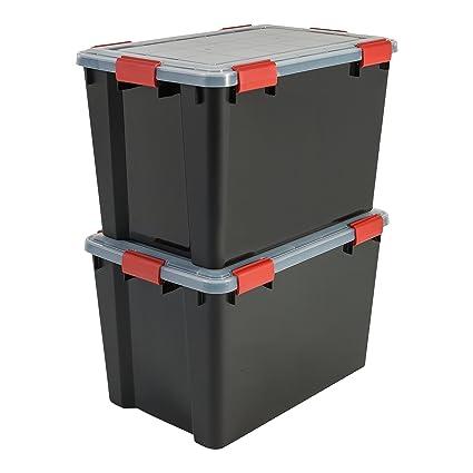 Iris Ohyama 137064 Set de 2 Cajas de Almacenamiento herméticas de plástico Transparente, 59 x