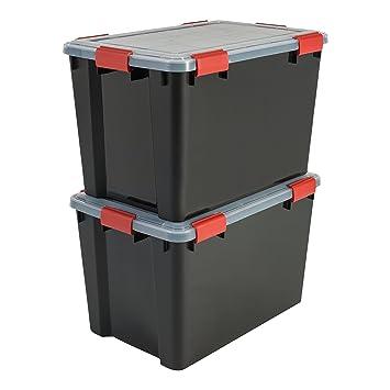 Iris Ohyama 137064 Set de 2 Cajas de Almacenamiento herméticas de plástico Transparente, 59 x 39 x 38 cm: Amazon.es: Hogar