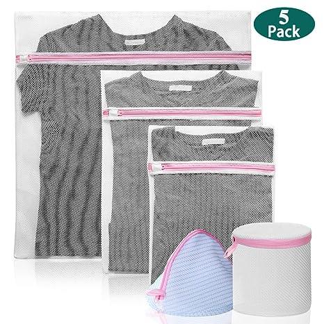 IHOMAGIC 5X Bolsa para la Colada Bolsa de Lavanderia Reutilizable Malla Bolsa para Lavadora con Cremallera Malla Laundry Bag Protección para Lavar La ...