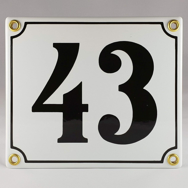Emaille Schild Hausnummer 48 Blau-Wei/ßHandarbeit