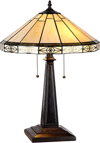 Chloe Lighting CH31315MI16-TL2 Belle Tiffany-Style Mission 2 Light Table Lamp
